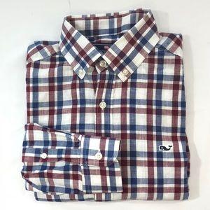"Vineyard Vines Men's ""The Whale Shirt"" Red/Blue Sm"